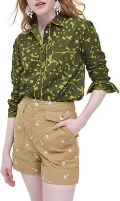 J.Crew Camo Flowers Long Sleeve Button-Up Shirt