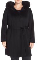 Fleurette Wool & Cashmere Wrap Coat with Genuine Fox Fur (Plus Size)