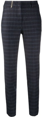 Peserico Plaid Slim Fit Crop Trousers