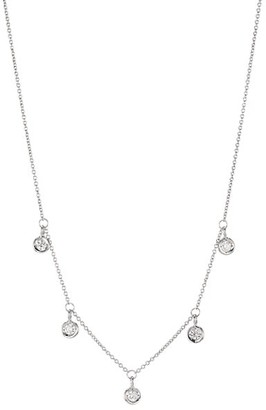 Roberto Coin Diamond By The Inch 18K White Gold & Diamond Dangle Necklace