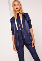 Missguided Tie Neck Satin Blazer Navy