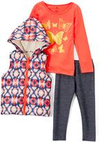 Coral & Navy Geometric Hooded Vest Set - Girls