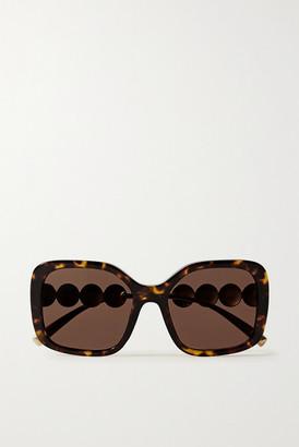 Versace Square-frame Tortoiseshell Acetate And Gold-tone Sunglasses