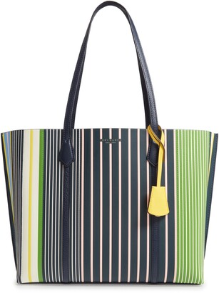Tory Burch Perry Stripe Leather Tote