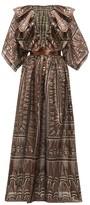 Zandra Rhodes Ruffled Geometric-print Silk-blend Gown - Womens - Black Gold