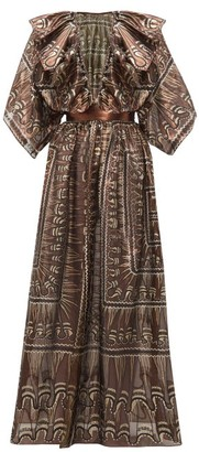 Zandra Rhodes Ruffled Geometric-print Silk-blend Gown - Womens - Black Gold