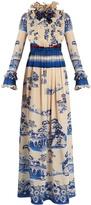 Gucci Porcelain garden-print silk gown