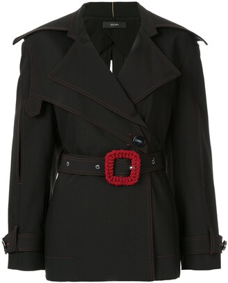 Ellery Contrast Buckle Belted Blazer