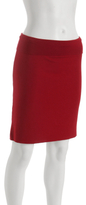 red stretch jersey convertible pencil skirt