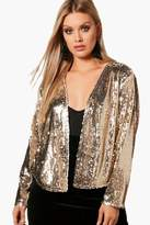 boohoo Plus Olivia Power Shoulder Waterfall Sequin Jacket
