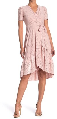 London Times Jersey Eyelet Wrap Dress