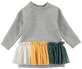 Molo Cher Long-Sleeve Skirted Sweat Dress, Gray, Size 12-24 Months