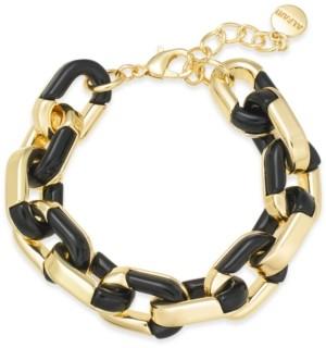 Alfani Gold-Tone & Black Acrylic Large Link Bracelet, Created for Macy's