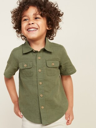Old Navy Linen-Blend Cargo-Pocket Shirt for Toddler Boys