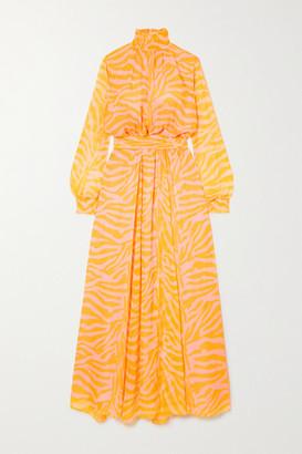 Eywasouls Malibu Charlotte Zebra-print Voile Maxi Dress - Yellow