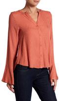 Honey Punch Textured Hi-Lo Bell Sleeve Shirt
