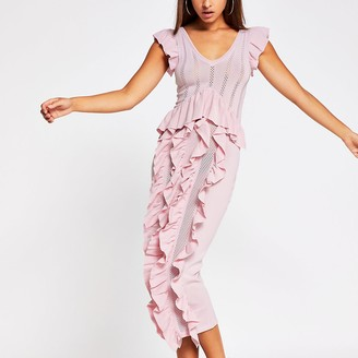 River Island Pink Knitted Frill Dress