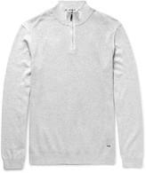 Hugo Boss - Textured-Knit Cotton Half-Zip Sweater