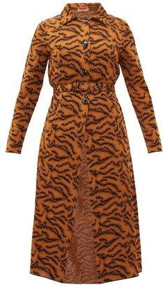 Missoni Belted Tiger-jacquard Coat - Orange Multi