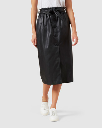 French Connection Faux Leather Midi Button Skirt