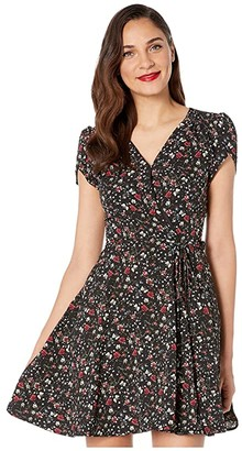 Unique Vintage Smak Parlour for Floral Print Flare Dress (Black) Women's Dress