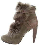 Rebecca Taylor Shearling Round-toe Ankle Boots