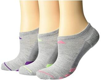 adidas Superlite Stripe II No Show Socks 3-Pack (Black/Light Heather Grey/White/Grey/Onix/Clear Grey) Women's Crew Cut Socks Shoes