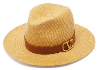 Valentino Leather-trimmed Straw Hat - Womens - Beige