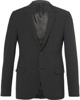 Lanvin - Grey Satin-trimmed Stretch Wool And Silk-blend Seersucker Blazer