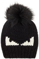 Fendi Bag Bugs fur-pompom wool hat