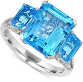 Effy Blue Topaz (6-1/3 ct. t.w.) and Diamond (1/8 ct. t.w.) Ring in 14k White Gold