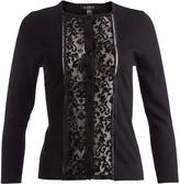 August Silk Black Lace-Panel Cardigan