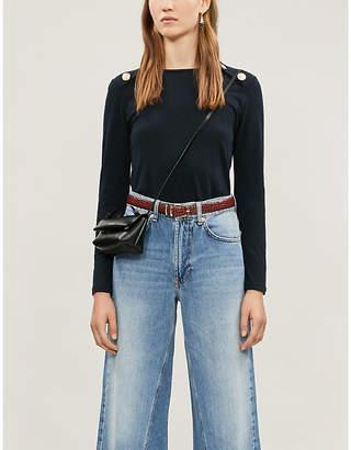 Claudie Pierlot Buttoned-shoulder cotton-blend jersey T-shirt