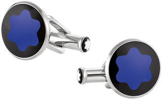 Montblanc Mineral Glass-Inlay Round Cuff Links, Blue