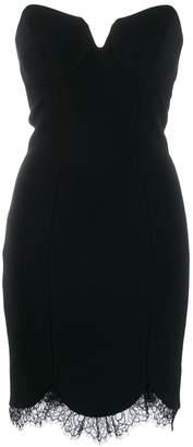 Just Cavalli lace hem bandeau mini dress