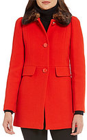 Kate Spade A-Line Faux-Fur Collar Short Wool Coat