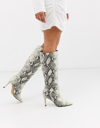 Steve Madden Kinga knee high heel boot in natural snake