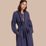 Burberry Oversize Silk Trench Coat with Puff Sleeves , Size: 04, Blue