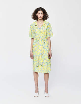 Need Club Wrap Dress in Yellow Ditsy Floral