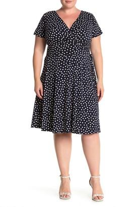Maggy London Short Sleeve Polka Dot Dress (Plus Size)