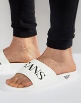 Armani Jeans Logo Slider Flip Flops In White