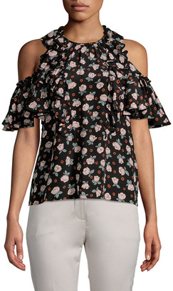 Rebecca Taylor Rosalie Floral Cold-Shoulder Top