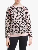 Scamp & Dude Unisex Crew Neck Leopard Print Sweatshirt, Blush/Black