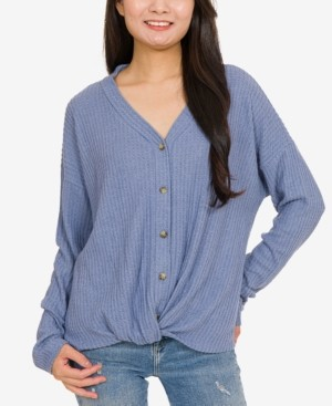 Hippie Rose Juniors' Waffle-Knit Twist-Front Top