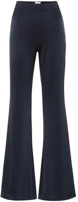 Galvan High-rise flared satin-crApe pants