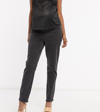 ASOS DESIGN Maternity high rise farleigh 'slim' mom jeans in washed black