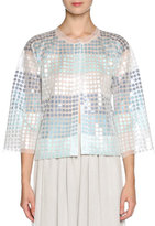 Giorgio Armani Sequined Chiffon 3/4-Sleeve Jacket, White