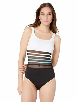 Nautica Women's Classic Scoop Neck with Mesh Inset One Piece Swimsuit