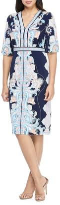Maggy London Paisley V-Neck 3/4 Sleeve Sheath Dress