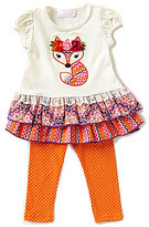 Bonnie Jean Bonnie Baby Baby Girls 12-24 Months Fox-Appliqued Dress & Dotted Leggings Set